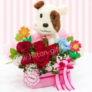 Puppy & Red Roses Flower