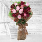 Red & Pink Roses hand bouquet