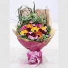 Carnation Spray and Mix Gerberas hand bouquet