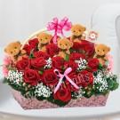 Heart shape Red Roses Arrangement & Bear