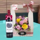 Wine Hamper & Pink Roses