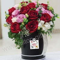 Roses and Pink Eustoma - Table Bouquet