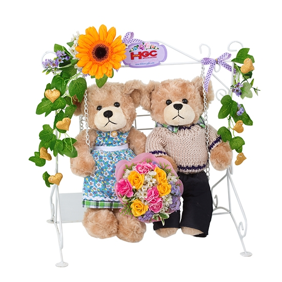 Couple Bear with swing and flower