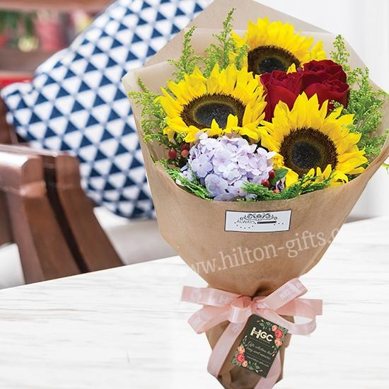 Sunflower & Hydrangea Hand Bouquet