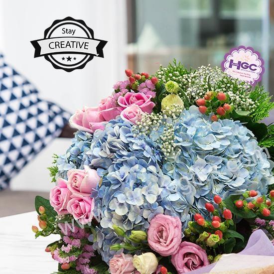 Blue Hydrangea hand bouquet