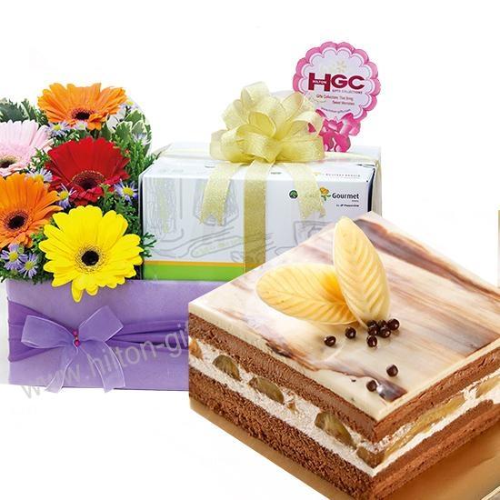 CBE 1A-Banana Chocolate Cake & flower