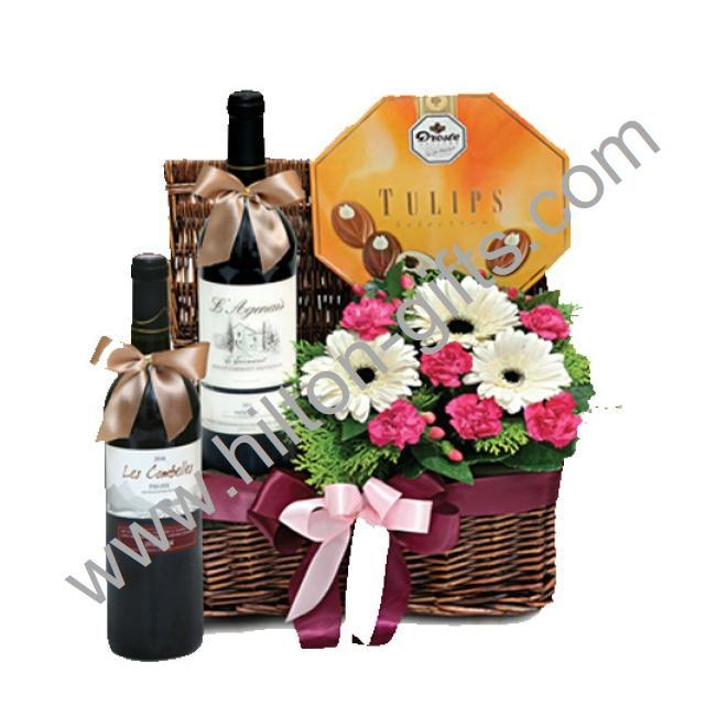 Wine hamper with chocolate and Flowers