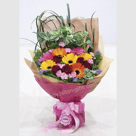 Carnation Spray and Mix Gerberas hand bouquet