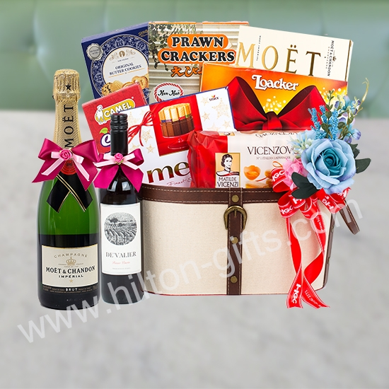 Food Hamper Alcohol - Moet & Chandon Brut Imperial Champagne & Red Wine