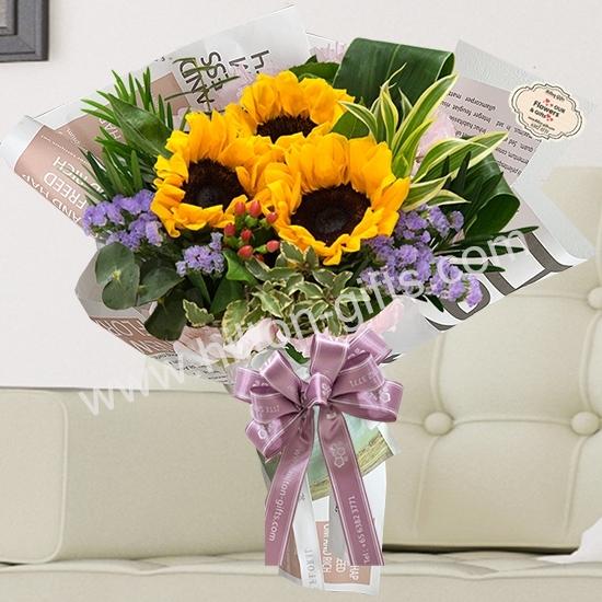 Hand Bouquet Sunflowers
