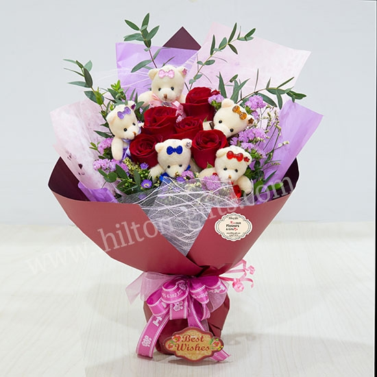 Bear Hand Bouquet Red Roses