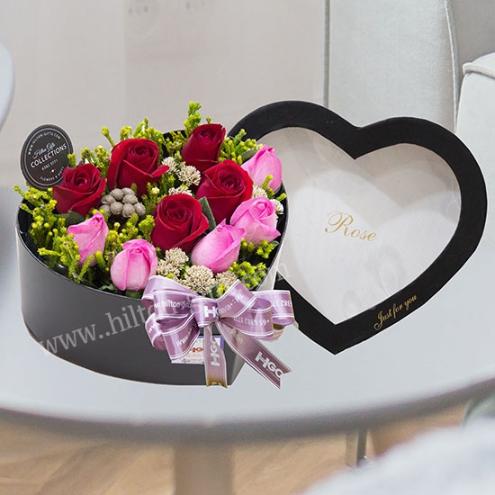 Table Bouquet Roses with Heart Shape Box