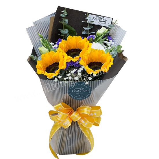 VALENTINES 3 stalk Sun Flower Hand Bouquet Cash & Carry
