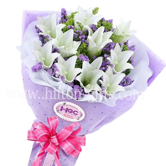 white lilies Hand Bouquet