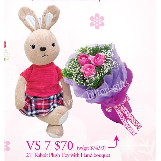 Rabbit & Pink Roses Hand Bouquet