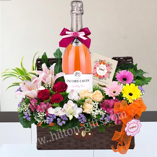 Jacob Greek Australia Sparking Rose Wine Hamper Anf Flower