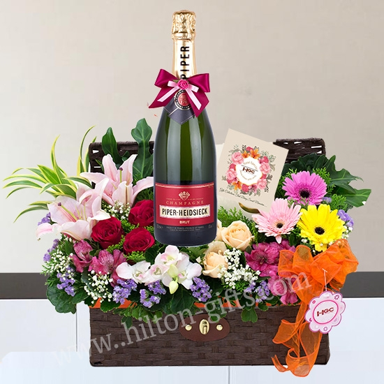 Piper Heidsieck Brut Champagne Hamper $ flower